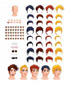 Fashion male avatars. 8 hairstyles and 5 eyes in different colors, 5 mouths, 5 noses, 5 glasses, 1 head, for multiple combinations. In this image, some previews. Vector file, isolated objects.