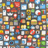 image of transportation icons  - Seamless background of many interface icons - JPG