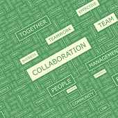 COLLABORATION. Word cloud concept illustration. Wordcloud collage. Vector illustration.