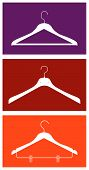 stock photo of clothes hanger  - Three clothes isolated hangers - JPG