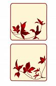image of six-petaled  - Button banner business card square with floral vector EPS8 illustration set of six - JPG