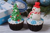 wo muffins Christmas spruce and a snowman