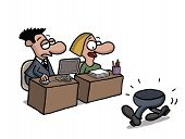 picture of gag  - Cartoon gag about a part time office worker - JPG