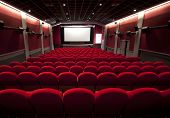 picture of cinema auditorium  - cinema or theater with a empty seats - JPG