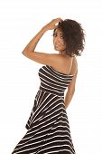 Hispanic Woman Striped Dress Back Look