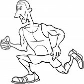 Runner Sportsman Cartoon Coloring Page