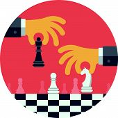image of chessboard  - Flat design modern vector illustration concept of two business people playing chess and try to find strategic position and tactic for long - JPG