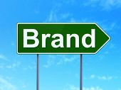 Advertising concept: Brand on road sign background poster