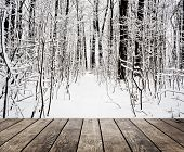 stock photo of leafy  - Christmas snow on the wood textured backgrounds - JPG