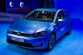 LOS ANGELES, CA - NOVEMBER 20: A Volkswagen e-Golf on exhibit at the Los Angeles Auto Show in Los Angeles, CA on November 20, 2013