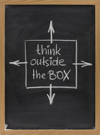 pic of thinking outside box  - think outside the box  - JPG