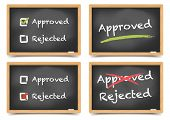 detailed illustration of blackboards with approved and rejected options, eps10 vector, gradient mesh