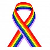 stock photo of transgender  - a rainbow ribbon on a white background - JPG
