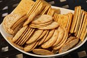 pile of different shaped crackers
