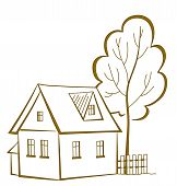 House with a tree, pictogram