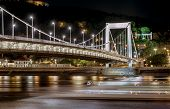 Night View Of Elisabeth Bridge (erzsebet Hid).  Budapest, Hungary