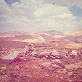 stock photo of samaria  - Sand Hills of Samaria in Israel Photo Filter - JPG