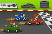 picture of karts  - A vector illustration of happy kids in a car racing - JPG