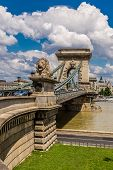 The Szechenyi Chain Bridge Is A Beautiful, Decorative Suspension Bridge That Spans The River Danube