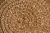 Basket Wicker Braid Weave Texture, Circle Straw Reed Macro Background
