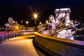 City Of Budapest In Hungary Night Urban Scenery, Street On The Szechenyi Chain Bridge