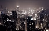 stock photo of ou  - Cityscape of business building and skyscraper in night in Hong Kong Asia - JPG
