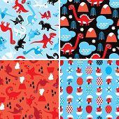 Seamless Christmas Dinosaur kids animal illustration background pattern in vector