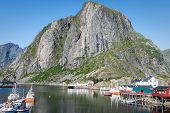 Picturesque Fishing Town Of Reine By The Fjord On Lofoten Islands In Norway