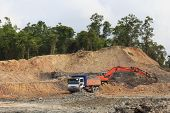 KUCHING, MALAYSIA - MAY 03 2014: Deforestation. Photo of tropical rainforest in Borneo being destroy