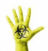 Open Hand Raised, Biohazard Sign Painted, Multi Purpose Concept - Isolated On White Background