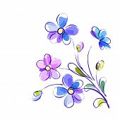Vector background with bright violet flowers