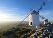 sunset at  the windmills of Consuegra, Toledo, Castilla La Mancha, Spain