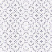White And Pale Purple Fleur-de-lis Pattern Textured Fabric Background