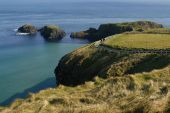 Cliffs Around Carrick-a-rede Rope Bridge In County Antrim, Northern Ireland