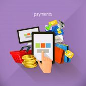 E-commerce and payments, vector illustration, flat design. Set is also suitable for mobile apps