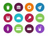 Fast food circle icons on white background.