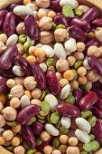Assortment of different types of beans - red beans, chickpeas, p