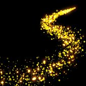gold glittering stars tail dust