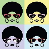 lady with many glasses styles