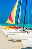 Colorful sailing boats on a sunny day at Varadero beach in Cuba
