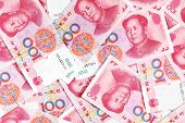 Chinese yuan renminbi banknotes close-up poster