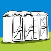 An image of portable public toilets.