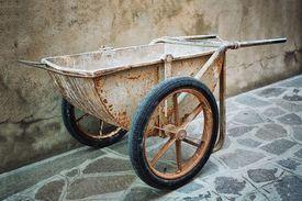picture of hand-barrow  - Old Hand building wheelbarrow designed for masons - JPG