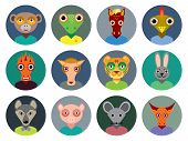 Chinese Zodiac Collection, Set Of Animals Faces Circle Icons In Trendy Flat Style. Infographics Desi
