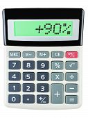 Calculator With 90 On Display On White