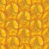 Pineapple Peel Seamless Background. Sketch. Brown Outline On An Orange Background.