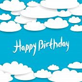 Abstract Blue Background, Sky, White Clouds. Happy Birthday Card