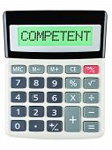 Calculator With Competent On Display Isolated On White