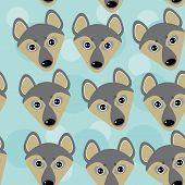 stock photo of wolf-dog  - Dog Wolf Seamless pattern with funny cute animal face on a blue background - JPG