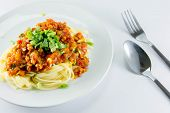 Spaghetti With Minced Pork And Tomato Sauce
